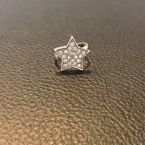 Guess Silver Crystal Star Ring
